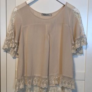 Chloe K Cream Chiffon Top with Lace Detail